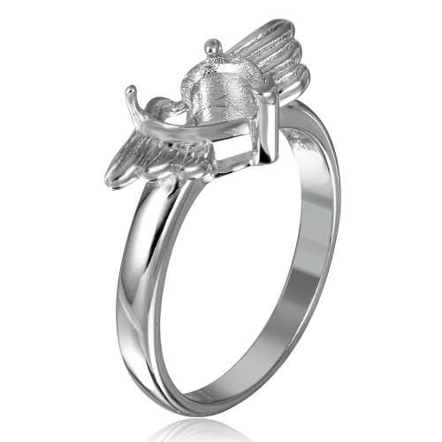 Wholesale Sterling Silver 925 Rhodium Plated Heart with Wings Mounting Ring - BGR01217