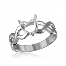 Wholesale Sterling Silver 925 Rhodium Plated Open Overlap Shank Heart Stone Mounting Ring - BGR01218