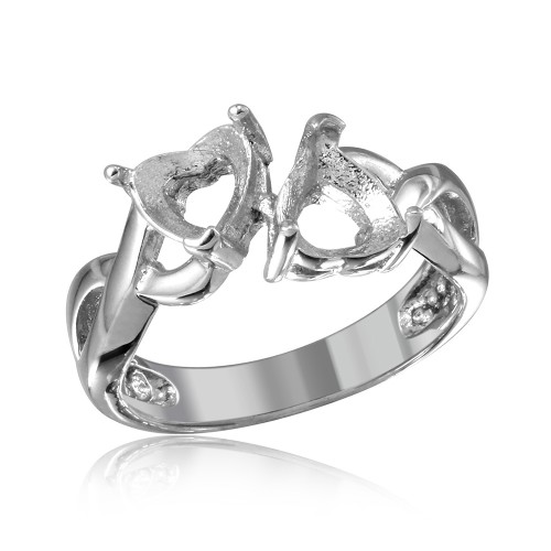 Wholesale Sterling Silver 925 Rhodium Plated Double Heart  Mounting Twisted Shank Ring - BGR01219