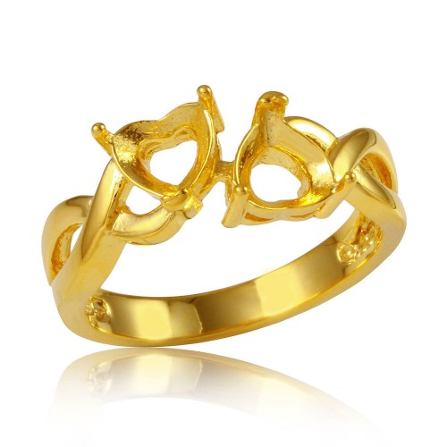 Wholesale Sterling Silver 925 Gold Plated Double Heart  Mounting Twisted Shank Ring - BGR01219GP