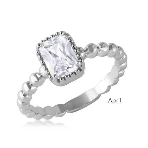 Wholesale April Sterling Silver 925 Rhodium Plated Beaded Shank Square Center Birthstone Ring - BGR01081APR