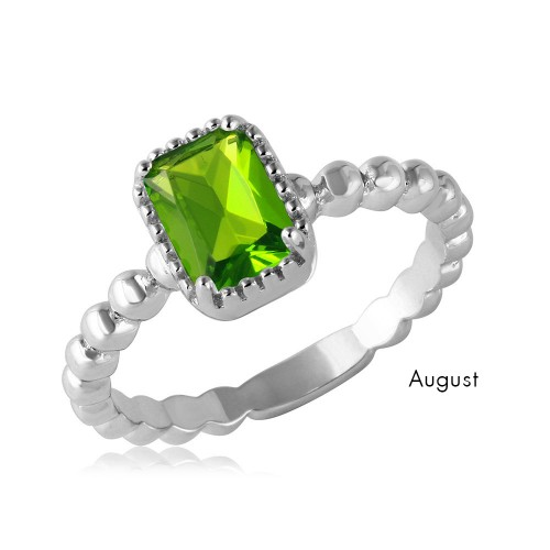 Wholesale August Sterling Silver 925 Rhodium Plated Beaded Shank Square Center Birthstone Ring - BGR01081AUG