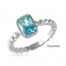 Wholesale December Sterling Silver 925 Rhodium Plated Beaded Shank Square Center Birthstone Ring - BGR01081DEC