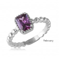 Wholesale February Sterling Silver 925 Rhodium Plated Beaded Shank Square Center Birthstone Ring - BGR01081FEB