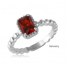 Wholesale January Sterling Silver 925 Rhodium Plated Beaded Shank Square Center Birthstone Ring - BGR01081JAN