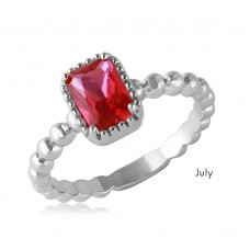 Wholesale July Sterling Silver 925 Rhodium Plated Beaded Shank Square Center Birthstone Ring - BGR01081JUL