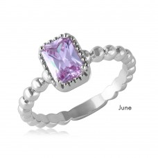 Wholesale June Sterling Silver 925 Rhodium Plated Beaded Shank Square Center Birthstone Ring - BGR01081JUN