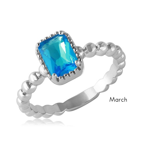 Wholesale March Sterling Silver 925 Rhodium Plated Beaded Shank Square Center Birthstone Ring - BGR01081MAR