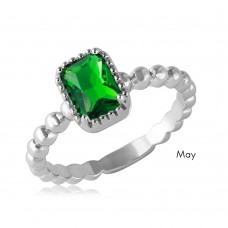 Wholesale May Sterling Silver 925 Rhodium Plated Beaded Shank Square Center Birthstone Ring - BGR01081MAY