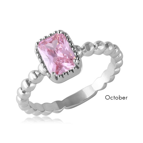 Wholesale October Sterling Silver 925 Rhodium Plated Beaded Shank Square Center Birthstone Ring - BGR01081OCT