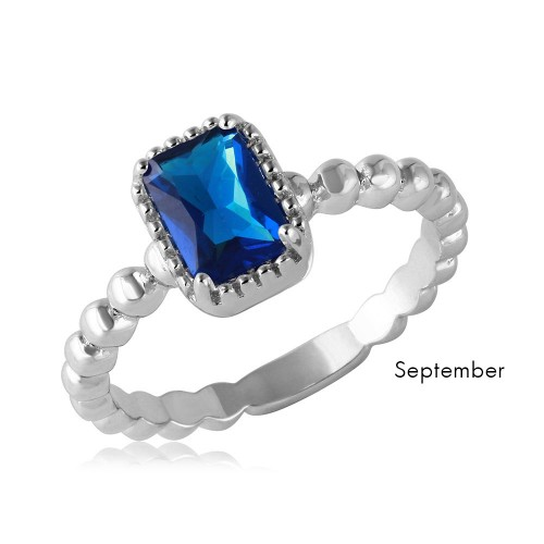 Wholesale September Sterling 925 Silver Rhodium Plated Beaded Shank Square Center Birthstone Ring - BGR01081SEP