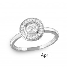 Wholesale April Sterling Silver 925 Rhodium Plated CZ Center Birthstone Halo Ring - BGR01082APR