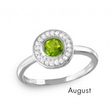 Wholesale August Sterling Silver 925 Rhodium Plated CZ Center Birthstone Halo Ring - BGR01082AUG