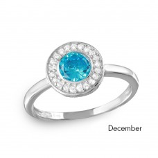 Wholesale December Sterling Silver 925 Rhodium Plated CZ Center Birthstone Halo Ring - BGR01082DEC