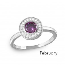 Wholesale February Sterling Silver 925 Rhodium Plated CZ Center Birthstone Halo Ring - BGR01082FEB