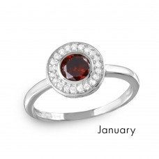 Wholesale January Sterling Silver 925 Rhodium Plated CZ Center Birthstone Halo Ring - BGR01082JAN