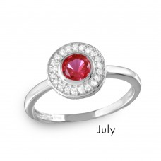Wholesale July Sterling Silver 925 Rhodium Plated CZ Center Birthstone Halo Ring - BGR01082JUL
