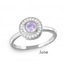 Wholesale June Sterling Silver 925 Rhodium Plated CZ Center Birthstone Halo Ring - BGR01082JUN