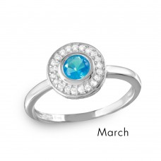 Wholesale March Sterling Silver 925 Rhodium Plated CZ Center Birthstone Halo Ring - BGR01082MAR