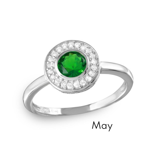 Wholesale May Sterling Silver 925 Rhodium Plated CZ Center Birthstone Halo Ring - BGR01082MAY