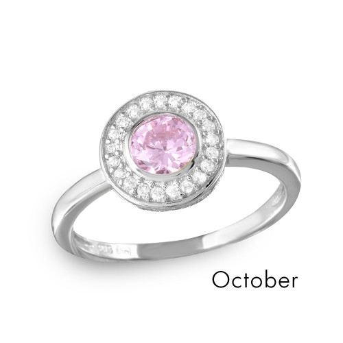 Wholesale October Sterling Silver 925 Rhodium Plated CZ Center Birthstone Halo Ring - BGR01082OCT