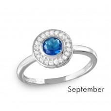 Wholesale September Sterling Silver 925 Rhodium Plated CZ Center Birthstone Halo Ring - BGR01082SEP