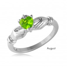 Wholesale August Sterling Silver 925 Rhodium Plated CZ Center Birthstone Claddagh Ring - BGR01083AUG
