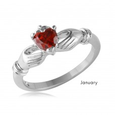 Wholesale January Sterling Silver 925 Rhodium Plated CZ Center Birthstone Claddagh Ring - BGR01083JAN