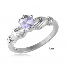 Wholesale June Sterling Silver 925 Rhodium Plated CZ Center Birthstone Claddagh Ring - BGR01083JUN