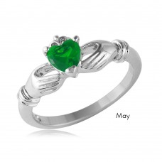 Wholesale May Sterling Silver 925 Rhodium Plated CZ Center Birthstone Claddagh Ring - BGR01083MAY