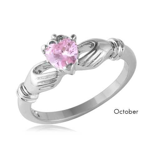 Wholesale October Sterling Silver 925 Rhodium Plated CZ Center Birthstone Claddagh Ring - BGR01083OCT