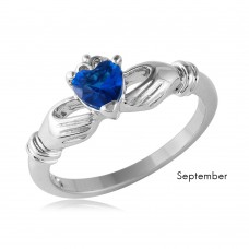 Wholesale September Sterling 925 Silver Rhodium Plated CZ Center Birthstone Claddagh Ring - BGR01083SEP