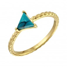 Sterling Silver Gold Plated Triangle Turquoise Center Stone Ring - BGR01088