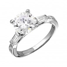 Wholesale Sterling Silver 925 Rhodium Plated Round Center Baguette Shank CZ Stone Bridal Ring - BGR01094