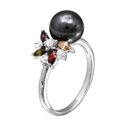 Wholesale Sterling Silver 925 Rhodium Plated Multi Color CZ Flower Ring with Black Synthetic Pearl - BGR01097