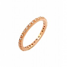 Wholesale Sterling Silver 925 Rose Gold Plated Plated Clear CZ Inlay Eternity Ring - BGR00339RGP