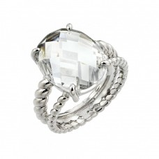 Wholesale Sterling Silver 925 Rhodium Plated Clear Oval CZ Bead Ring - BGR00738
