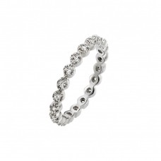Wholesale Sterling Silver 925 Rhodium Plated Clear CZ Stackable Eternity Ring - BGR00767