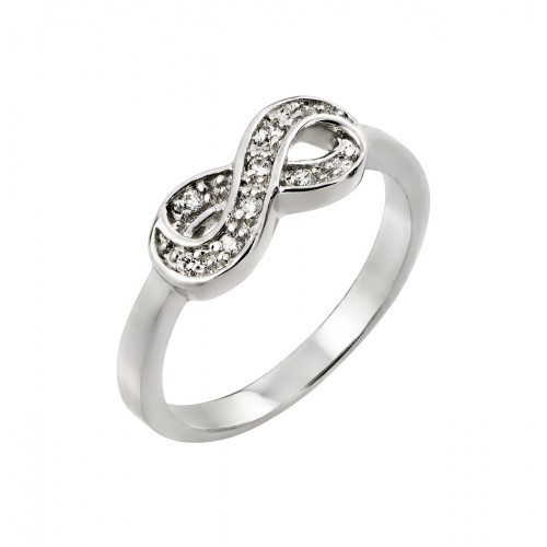 Wholesale Sterling Silver 925 Rhodium Plated Clear CZ Mini Infinity Ring - BGR00769