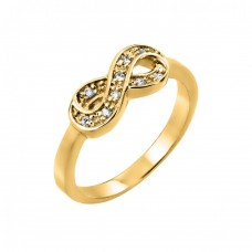 Sterling Silver Gold Plated Clear CZ Mini Infinity Ring - BGR00769GP