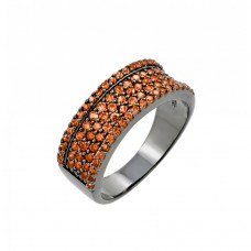 Sterling Silver Rhodium Plated Orange Pave Set CZ Half Ring - BGR00770ORG
