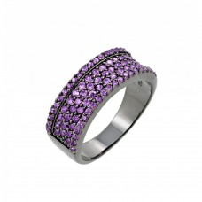 Sterling Silver Rhodium Plated Purple Pave Set CZ Half Ring - BGR00770PUR