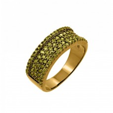 Wholesale Sterling Silver 925 Gold Plated Green CZ Half Ring - BGR00770YEL