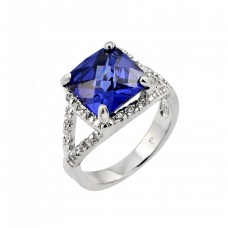 Wholesale Sterling Silver 925 Rhodium Plated Blue Princess Cut Center and Clear CZ Ring - BGR00771