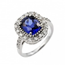 Wholesale Sterling Silver 925 Rhodium Plated Blue Square Center and Clear Cluster CZ Ring - BGR00772