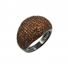 Sterling Silver Oxidized Rhodium Plated Orange Micro Pave Set CZ Dome Ring - BGR00774ORG