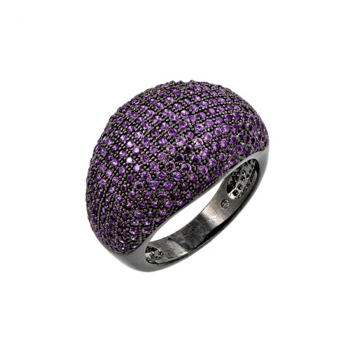 Wholesale Sterling Silver 925 Oxidized Rhodium Plated Purple CZ Dome Ring - BGR00774PUR