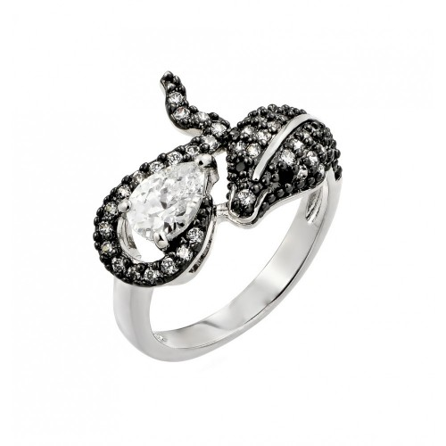 Wholesale Sterling Silver 925 Rhodium and Black Rhodium Plated 2 Toned Clear and Black CZ Snake Ring - BGR00776
