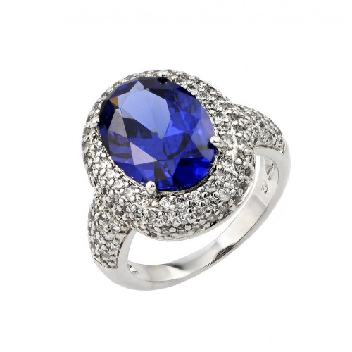 Wholesale Sterling Silver 925 Rhodium Plated Blue Oval Center and Clear Micro Pave Set CZ Ring - BGR00778