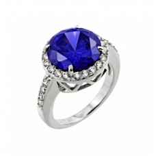 Wholesale Sterling Silver 925 Rhodium Plated Blue Round and Clear Inlay CZ Bridal Ring - BGR00780